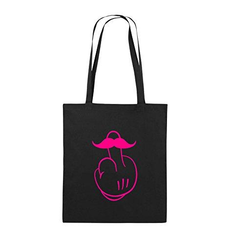 Comedy Bags - COMIC HAND FUCK - SCHNURRBART - Jutebeutel - lange Henkel - 38x42cm - Farbe: Schwarz / Pink Schwarz / Pink