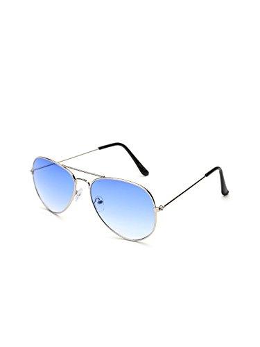 Gansta UV protective unisex aviator sunglasses - (GN-3002-Sil-Blu|58|Blue Lens)