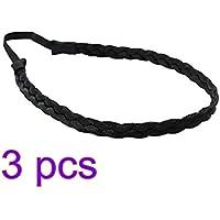 Lurrose Cabello trenzado diadema Cabello trenzado sintético diadema peluca trenza peluca estiramiento banda de pelo accesorios para mujeres niña (negro)