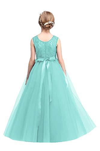Mädchen A-Linie Spitze Blumenmädchenkleid Hochzeitskleid Festlich Mint Grün 130