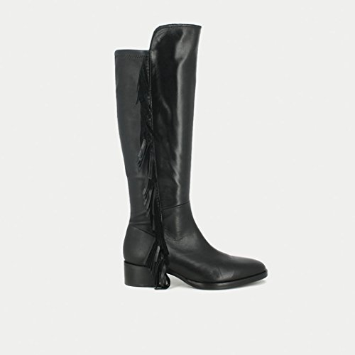 Jonak Donna Boots Pelle Con Frange Mina Nero