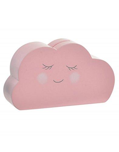 Hucha de Madera Natural en Forma de Nube de los sueños - Colores Pastel - Diseño Natural- Hogar y más - Rosa Claro