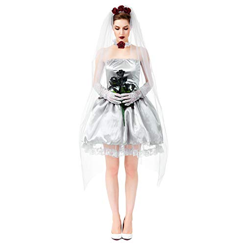 LOLANTA Damen Ghost Bride Kostüm Damen Halloween Kostüm Contest Outfit Knielang Kleid Marie Antoinette Make-up