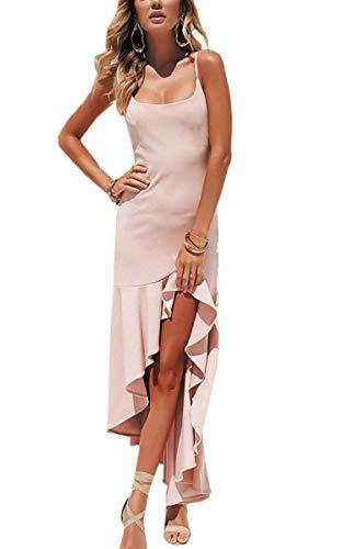 Rosen Langes Kleid (Angashion Damen Sexy Kleid Spaghettiträger Unregelmäßig Rüschen Cocktailkleid Elegante Rückenfrei Partykleid Schlitz Abendkleid Rose XL)
