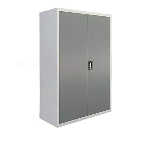 Tumdem, armadietto da ufficio a 3 strati, con ripiani in metallo, 2 ante e sistema di chiusura grigio, 90 x 40 x 140 cm.