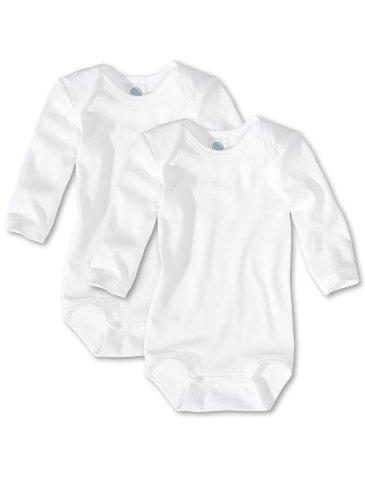 Sanetta Unisex - Baby Body 321861, 2Er Pack, Einfarbig, Gr. 98, Weiß (White 10)