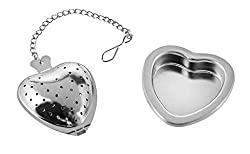 NaNa Teesieb | Teekorb | Teenetz in Herzform - Edelstahl mit Abtropfform und 10cm Kette - Herz