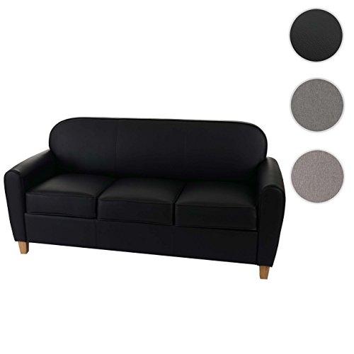 3er Sofa Malmö T377, Loungesofa Couch, Retro 50er Jahre Design ~ schwarz, Kunstleder