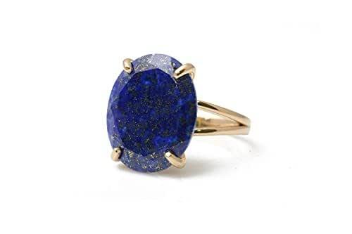 Bague Éthérée en Lapis Lazuli - Bague Unique à Grosses Pierres - Bague Vintage de Fiançailles - Bijoux Artisanaux pour Femmes - Personnalisable avec Gravure.