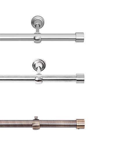 Rollmayer Edelstahl Vorhangstange/Gardinenstange Ø 19mm (240cm Crux, Edelstahl, 1-läufig) einfache Montage Verschiedene Größen und Endstücken Ohne Ringe!