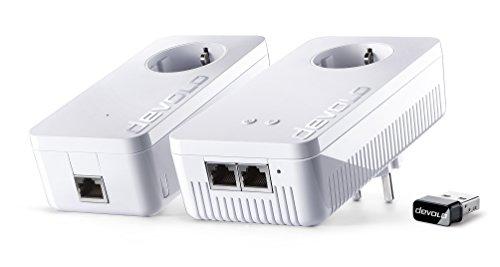 Devolo dLAN 1200+ WiFi ac Starter Kit + WiFi Stick ac Powerlan Adapter (2 Adapter im Set + WiFi Stick ac (kleinste Bauform, für USB Anschluss an PC oder Mac), WLAN Repeater, WLAN Verstärker) (Langsame Starter)