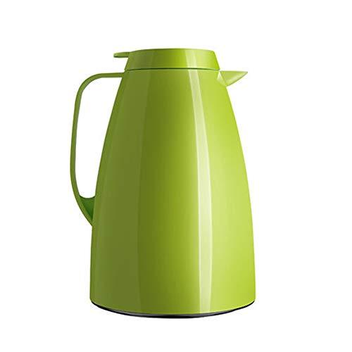 A-Lnice Kaffeekanne Doppelwand Vakuum Isolierte Thermoskanne Wärmflasche Pitcher Getränkespender mit Druckknopf 1.5L (Farbe : Grün)