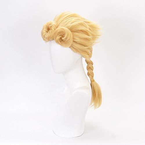 FANCYLEO EU JoJo's Bizarre Adventure Giorno Giovanna Perücke Frauen Damen Haar Lang Wig für Karneval Fasching Cosplay Party Kostüm Blond Weiblich