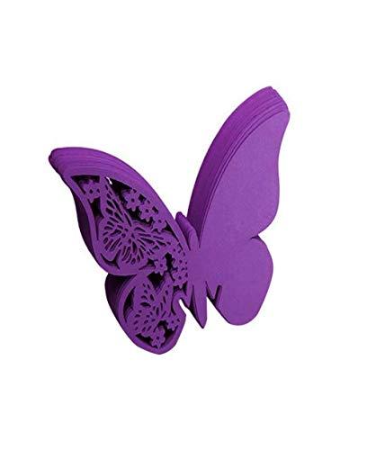 Vaycally 50 stücke Papier Schmetterling Wein Tasse Karte Tischkarte Glas Tasse Karte Geprägte Schmetterling Wein Karte für Hochzeit Geburtstag Taufe Liefert, Lila