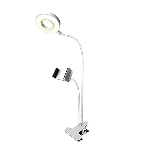 RIsxffp Halterung für Telefon Selfie Ring Light Mobile Clip Halterung für Schönheit Schreibtischlampe LED weiß
