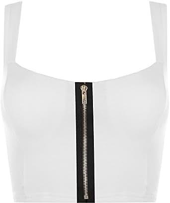 WearAll - Bustier/bandeau sans manches avec un soutien-gorge rembourré et une fermeture éclair - Hauts - Blanc - 36-38