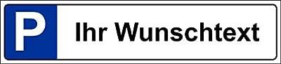 Parkplatzschild 52x11cm Schild Parkplatz Nummernschild Kennzeichen – Wunschtext – S19a