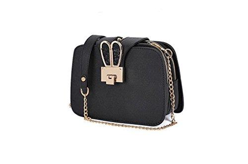 Versione la signora coreana della nuova borsa a tracolla, a catena, sacchetto del messaggero, un telefono cellulare piccolo sacchetto, un piccolo pacchetto quadrato black
