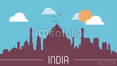 """Alu-Dibond-Bild 50 x 30 cm: """"India skyline silhouette flat design vector"""", Bild auf Alu-Dibond"""