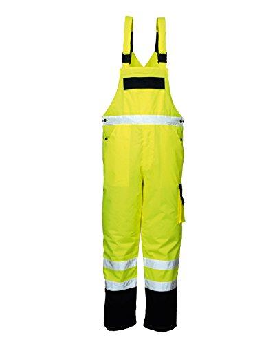 Warnschutz-Latzhose Winter gefüttert (L, Neongelb) wattiert, atmungsaktiv, wasserabweisend, diverse Taschen, Handytasche Arbeitshose...