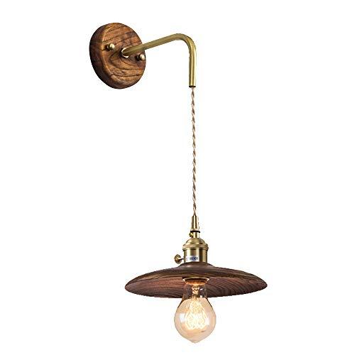 Retro Walnuss Holz-Wandleuchte Innen Messing Wandlicht Einstellbar Aufhänge Wandlampe E27 Leuchtmittel für Wohnzimmer Arbeitszimmer Esszimmer Cafe,10 * 20 * 100CM -