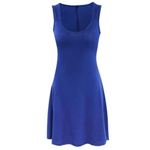 Frauenkleid Ärmelloses Kleid mit V-Ausschnitt Summer Beach Mini Ausgestelltes Trägerkleid Damen (Farbe : Blau, Size : L) -