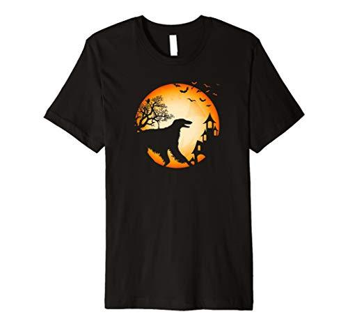 Barsoi Halloween T-Shirt Hunde-Silhouette Mond