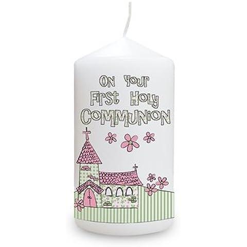 Rosa con inscripción invitaciones para Comunión cirio de iglesia hecho, For Her, bautizo, bebé, diseño de
