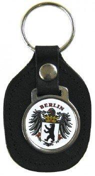 Preisvergleich Produktbild Leder- Schlüsselanhänger mit Button - Wappen Berlin - Gr. ca. 5x7cm - 06203 - Keyholder mit Metallplakette