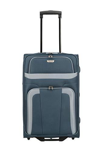 travelite ORLANDO Koffer, Reisetrolley 2-Rad M (63 cm), Marine Blau; Rollkoffer mittlere Größe mit Außen- und Innentasche, mit Schloß