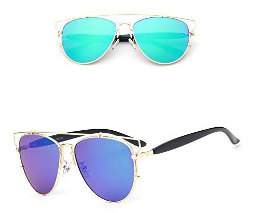 WSKPE Sonnenbrille,Metallische Sonnenbrille Farbe Film Reflektierenden Brille Gold Frame,Grüne Linse