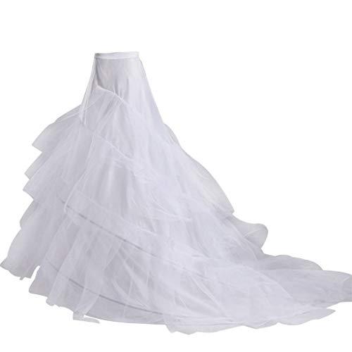 chenpaif 3-Lagen-Garn 2-Reifen Braut Brautkleid Langer Schlepprock Petticoat Elastische Taille Kordelzug Einstellbare Fishtail Slip Röcke - Weiße Fließenden Tanz Kostüm