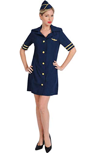 Sexy Stewardess Kostüm Karneval in Blau Mottoparty Verkleidung Damen Small