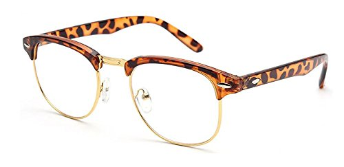 Preisvergleich Produktbild Outray Vintage Retro Classic Halbrahmen Horn umrandeten klare Linse Glser 2135c4 Leopard