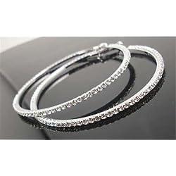 SLB Works Brand New Womens Luxury Party Diamond Crystal Earring Chic Rhinestone Ear Hoop Dangle 4cm