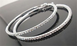 SLB Works Brand New Womens Luxury Party Diamond Crystal Earring Chic Rhinestone Ear Hoop Dangle 4cm
