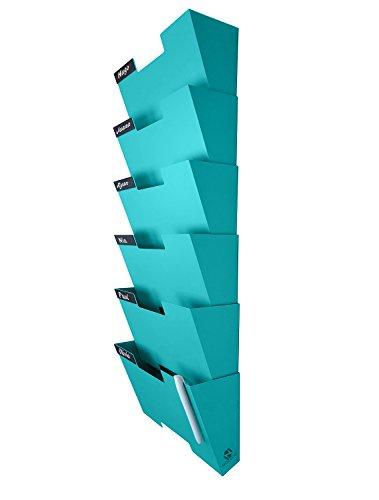 Nozzco Tiffany-Wandhalterung hängend Datei-Halter-Organisator Durable Stahlständer, Solide, robuste und breit für Briefe, Akten, Zeitschriften und mehr Organisieren des Desktop6 Pack Blau