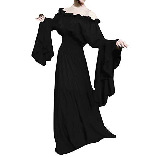 Amphia - Gothic Kleid,Damen Gothic Kleid Karneval Kostüm Cosplay,Frauen Retro mittelalterliche Renaissance Cosplay Vintage Party Club Elegante Maxi - Magd Kostüm Für Sie