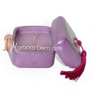 Medina Souvenirs Bougie parfumée tadelakt carré - Violet - Jasmin