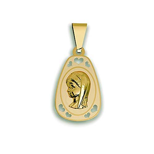 Casa de la Medalla - Medalla Religiosa Virgen Niña con Manto de Oro de 18 K (750 milésimas), Regalo Ideal para Comuniones