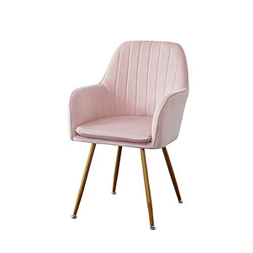 PXDZ1 Fußhocker Gold Samt Stuhl Esszimmerstuhl Stoff Gold Samt rosa Rose Stuhl Retro-Design Sessel Metallbeine (Rosa Gold Und Stoff)