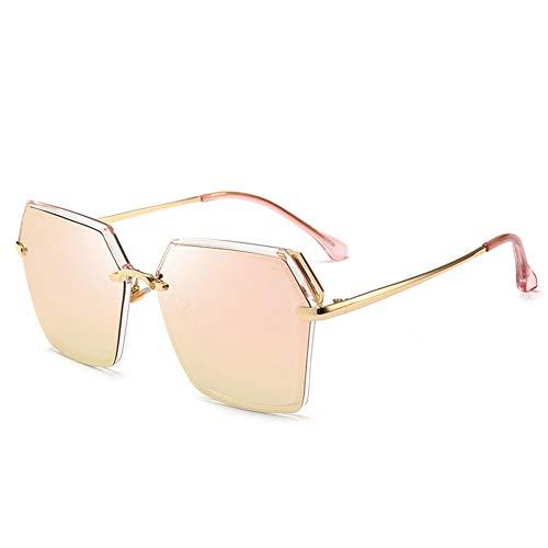 Thirteen Polarisierte Sonnenbrille Damen Retro Metall Großen Rahmen Fahren Sonnenbrille, Stilvolle Mode Uv Schutz Und Komfortablen Augenschutz. (Color : Pink)