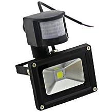 LIVHÒ | Foco LED 10 W, luz blanca con detector de movimiento para exterior, color negro, con escuadra de fijación, waterproof IP65