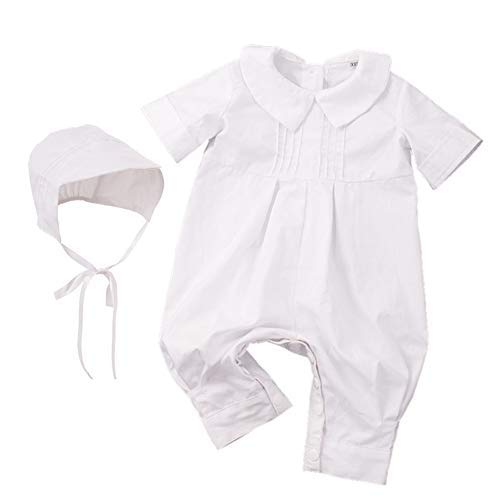 GRACEART Baumwolle Infant Taufbekleidung Jumpsuits Outfits Taufkleid mit Weiß (3-4 Monate)