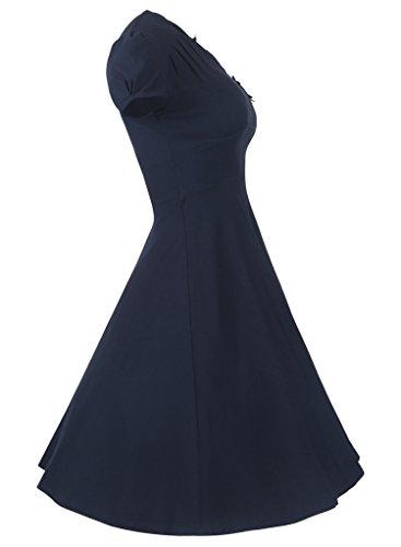 Smile YKK Robe de Mariée Femme Princesse Coton Manches Courtes Col V Cocktail Soirée Casual Eté Bleu Foncé