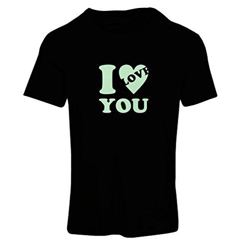 Frauen T-Shirt Ich liebe dich! - Valentinstag Geschenke (Large Schwarz Fluoreszierend)