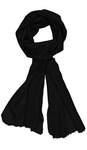 Ayurvastram pur cachemire 15inX73in Écharpe: Noir - Noir
