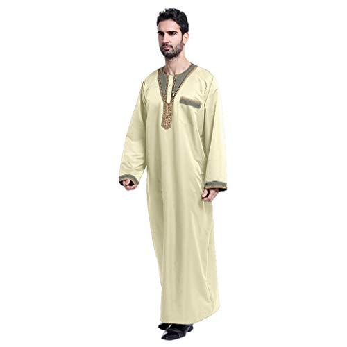 YCQUE Männer Ethnische Roben Langarm Herren Lose Lässige Oansatz Anbetung Gebet Große Größe Islamischen Muslim Nahen Osten Maxi-Kleid Kaftan Arabischen Nationalen Stil Lange Gestickte Männliche Robe