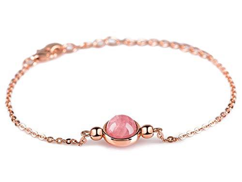 Dalwa Rosegold Armband aus 925 Silber mit Naturstein Rosenquarz - Charm, Ideales Geschenk für Mutter Frau und Freundin, inkl. Geschenkverpackung
