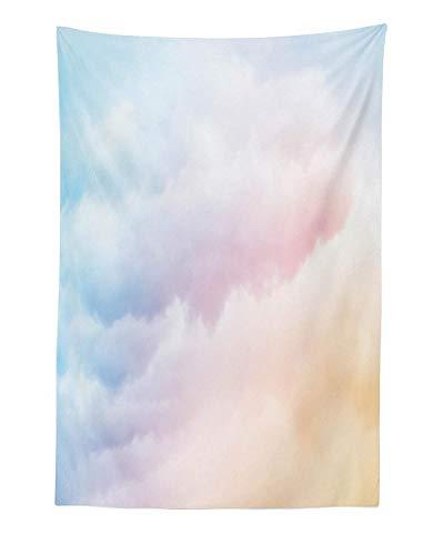 Wolken-Wandteppich, flauschige verträumte Farbverlauf verblasste Pastell Cloud ätherischen Nebel erhabenen Regenbogen hervorgehobenen Druck, Stoff Wand hängen Dekor für Schlafzimmer Wohnzimmer Schlafs -